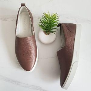 ECCO Gillian Bronze Leather Slip On Sneaker Loafer